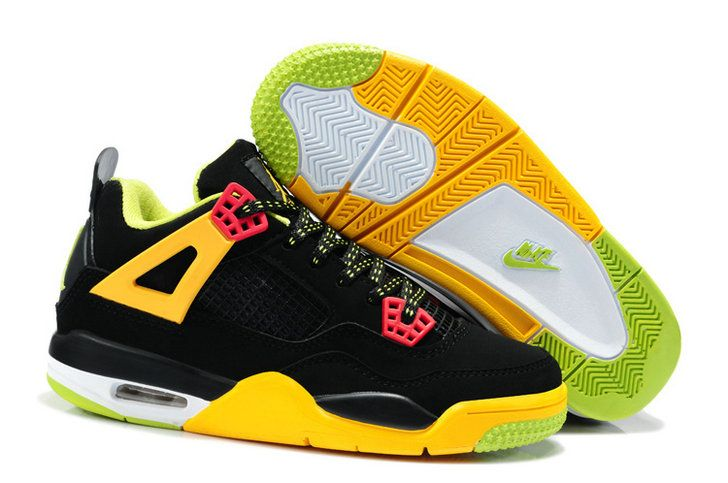 a30ebbaa25e7e0 Air Jordan 4 Kids Black Electric Yellow Lime Green ...
