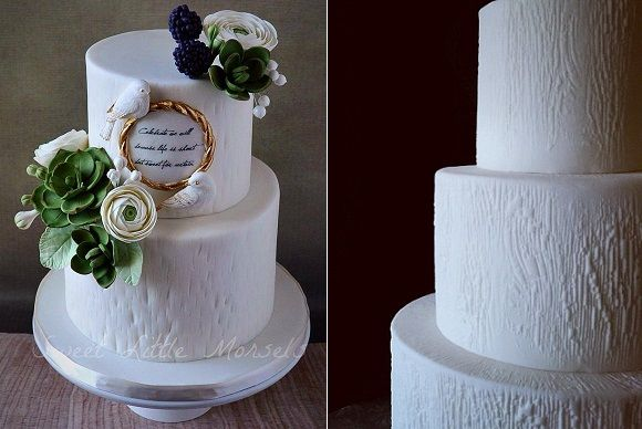 textured tree bark effect wedding cakes in white by Sweet Little Morsels Cakes left, Jonathan Caleb Cake right