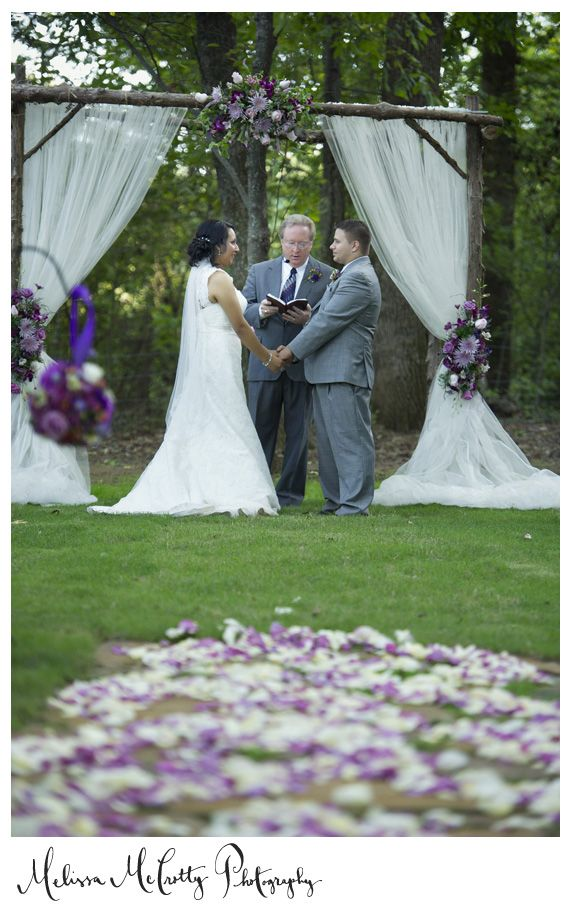 Purple Outdoor Wedding Ceremony  Michelle + Chad:  Barn at Twin Oaks Wedding
