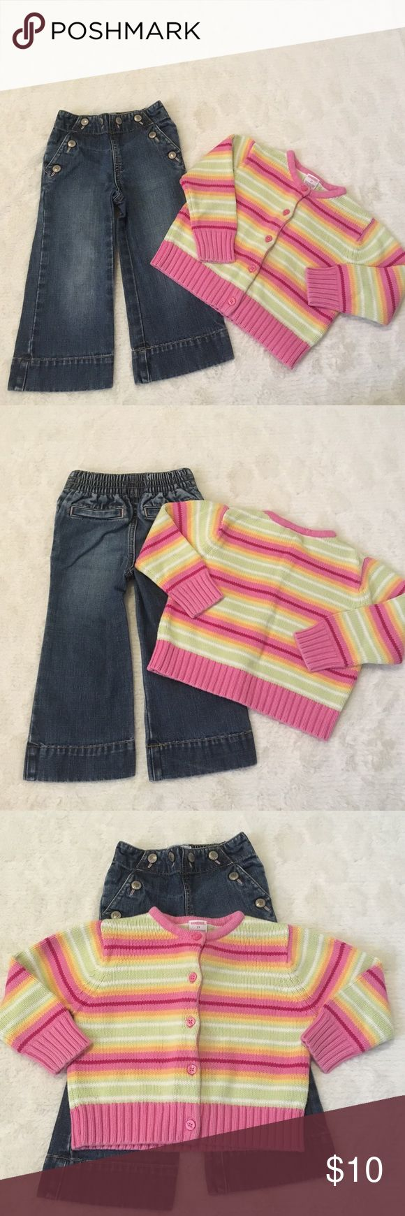 Bundle of 2 Girl's Sz 2T Blue Jean pants & Sweater #1- 100% Cotton-Super Cute Old Navy Sz 2T Pull up blue Jean pants-4 pockets-elastic waist #2-100% Cotton-Super Cute Gymboree Sz 2T Pink Multi Color Cardigan Button Down Sweater Gymboree/Old Navy Other