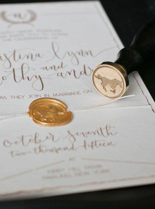 Seal your invites with a classic stamped seal. A classic and timeless black and gold horse farm wedding styled shoot by Nicole Taylor Photography