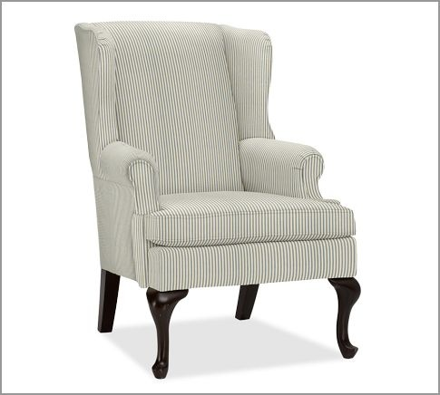 Gramercy Wingback Chair | Pottery Barn In Harbor Blue Ticking Stripe
