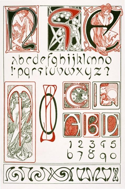 Design for an Art Nouveau Alphabet by Alphonse Marie Mucha (1902-3)
