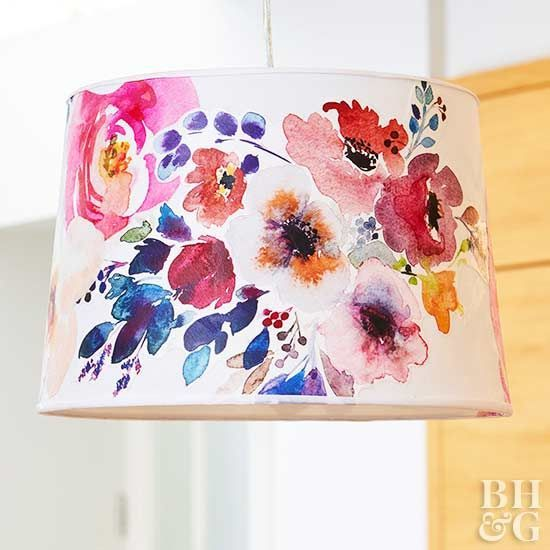 Create a custom lampshade using your favorite fabric and decoupage!