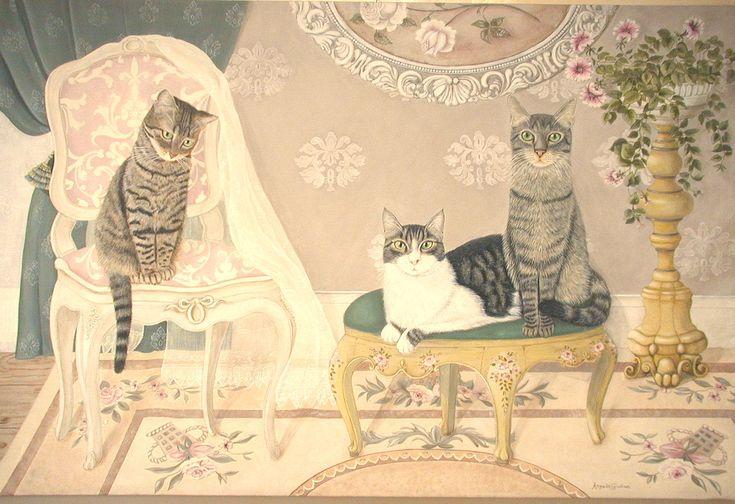 Ritratto di Kitty Fiore e Robin di Angela Giuliani www.angelagiulianidecorazioni.it