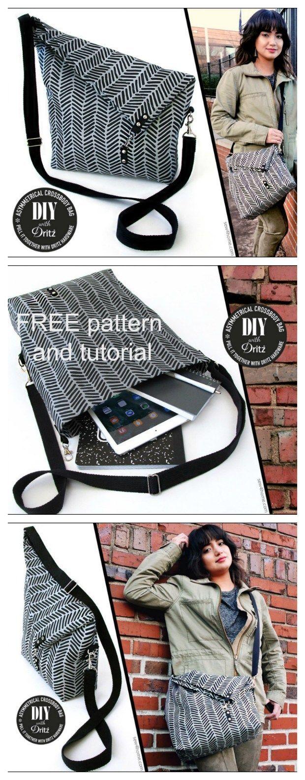 Asymmetrische Crossbody Bag – Muster frei