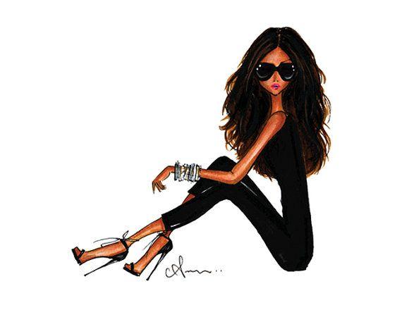 Fashion Illustration Print Black is the New Black por anumt en Etsy