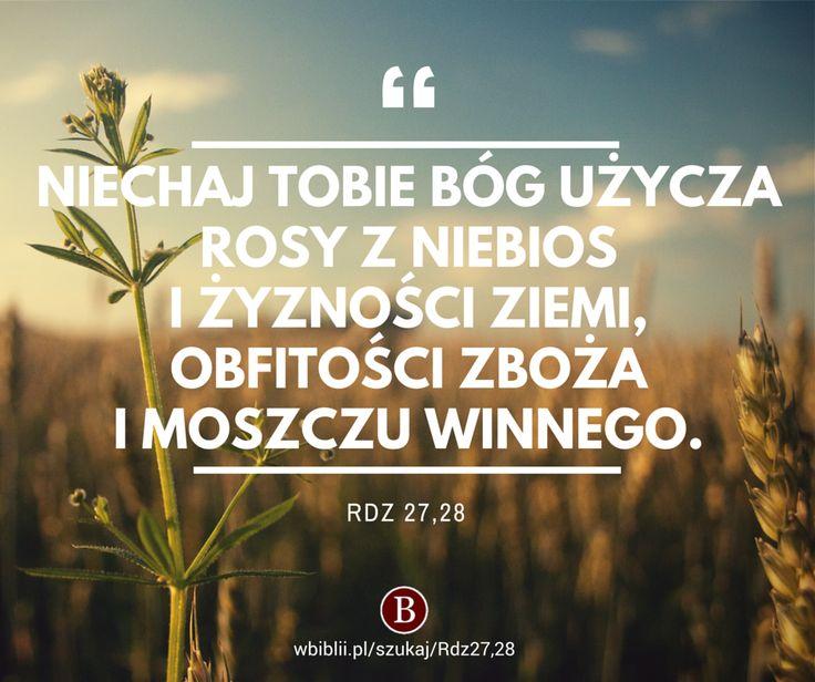Niechaj tobie Bóg użycza rosy z niebios i żyzności ziemi, obfitości zboża i moszczu winnego. https://wbiblii.pl/szukaj/Rdz27,28