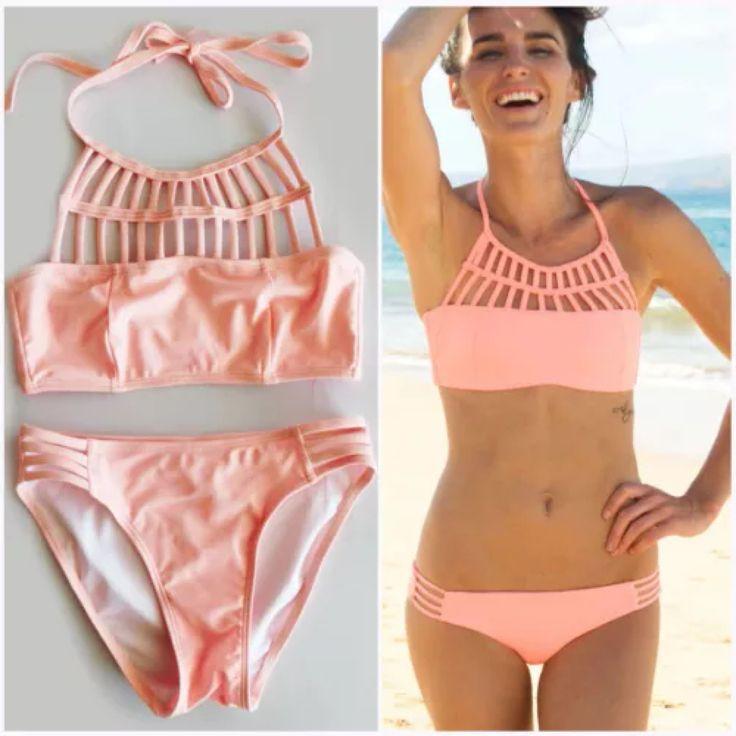 2015 Womens Sexy High Neck Crop Top Tribal Bikini Set Padded Swimwear Swimsuit