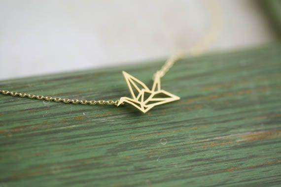 collar de la grúa del origami oro de AppleLatte por DaWanda.com