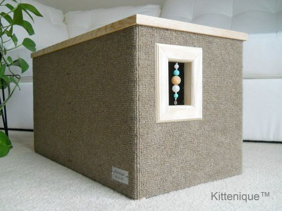 Kittenique Brown Beaded Cat House. Handcrafted wooden cat house featuring a unique beaded doorway and window that will satisfy your cat's curiosity.