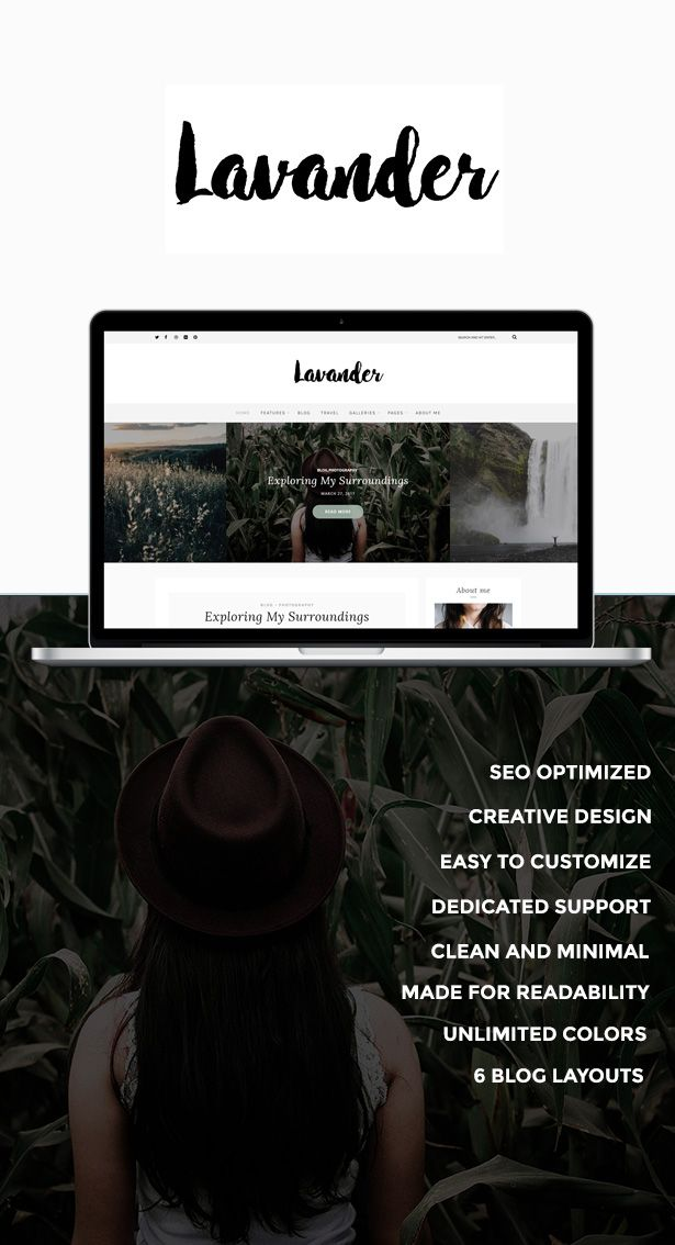 Lavander is a classy and modern WordPress Fashion Blog for all the Bloggers out there who strive towards minimalism. #minimalist #classy #food #blog #theme