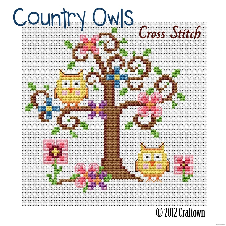 Free Cross Stitch Pattern - Country Owls