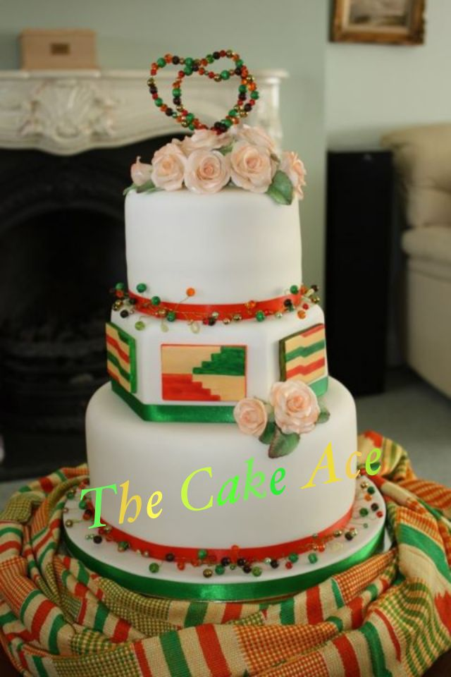 Wedding cake inspired by the bride's Ghanaian wedding fabric
