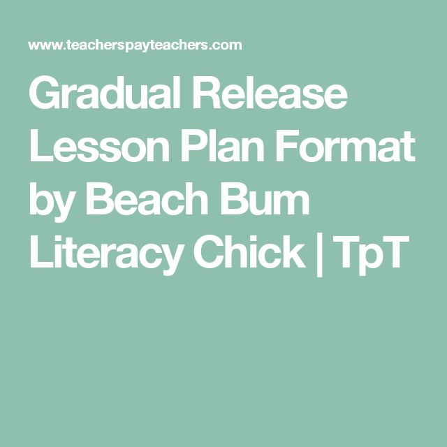 Gradual Release Lesson Plan Format by Beach Bum Literacy Chick | TpT