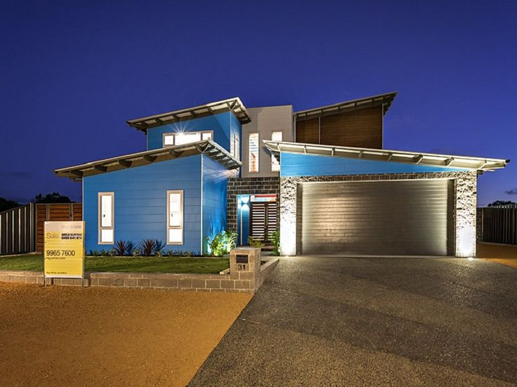Front Elevation - Features skillion roofs with open eaves and hardiplank cladding