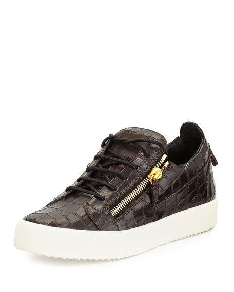 GIUSEPPE ZANOTTI Men'S Croc-Embossed Low-Top Sneaker, Chocolate. #giuseppezanotti #shoes #