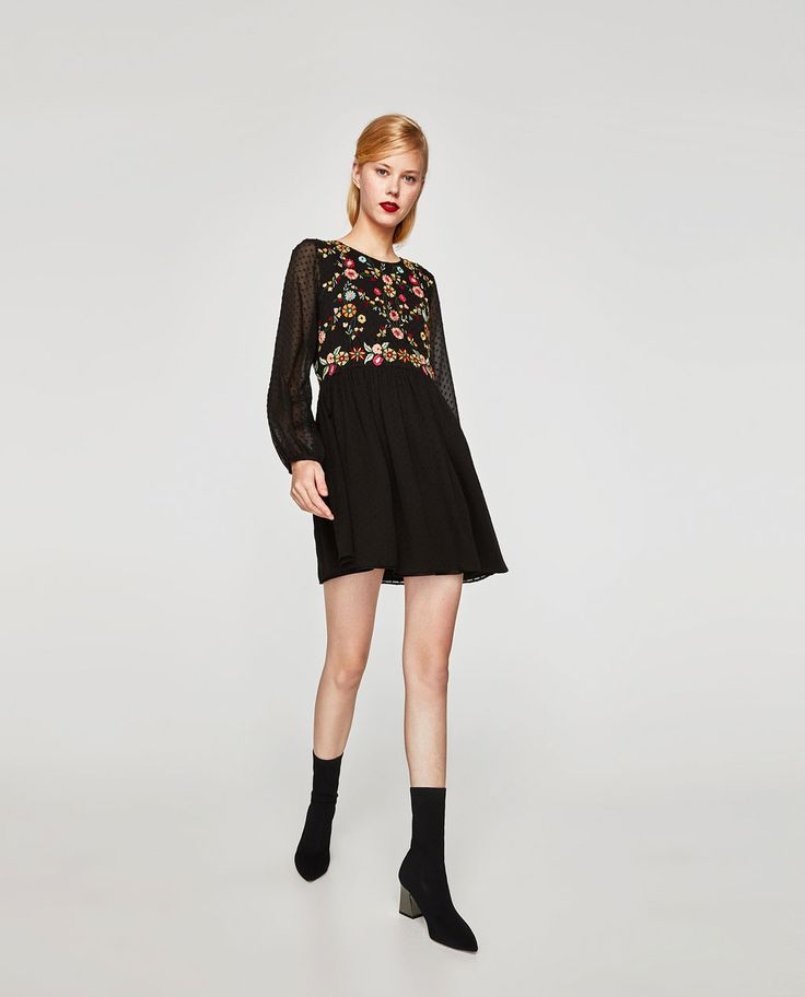 ZARA - WOMAN - EMBROIDERED DOTTED MESH DRESS