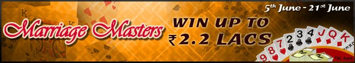 Win with Marriage in Hand at #Adda52Rummy and grab Rs.2 lakhs in cash prizes! Become a Marriage Master and win awesome cash prizes!