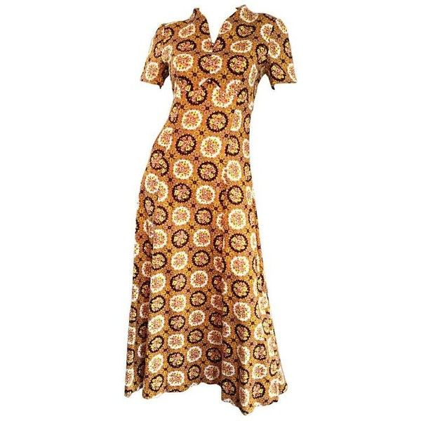 Preowned Vintage Joseph Magnin 1970s Boho Cotton Flower 70s Bohemian... ($495) ❤ liked on Polyvore featuring dresses, brown, ball dresses, v neck midi dress, vintage day dress, floral print dress and floral dresses