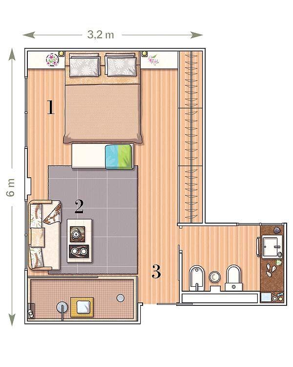 Planos de dormitorios planos de habitaciones pinterest for Dormitorio 3x3