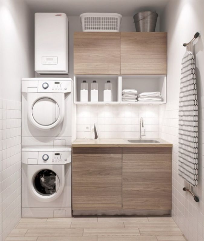 Modern Laundry Room Ideas With Sleek Wooden Cabinet And White Wall