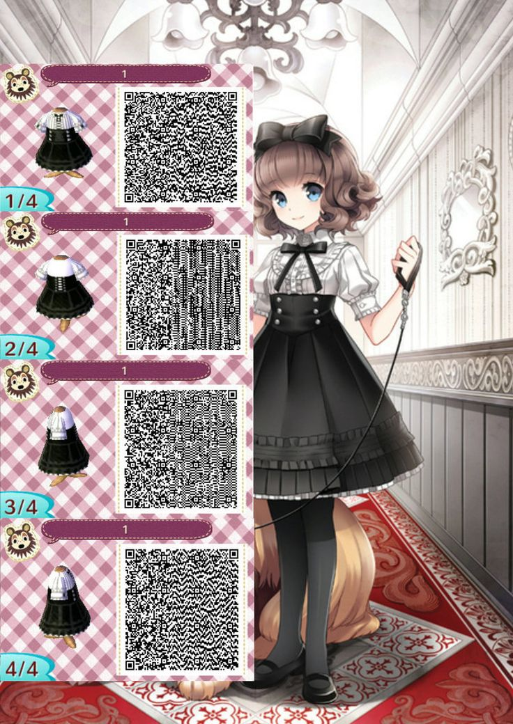 ACNL QR Code: Black and White Dress