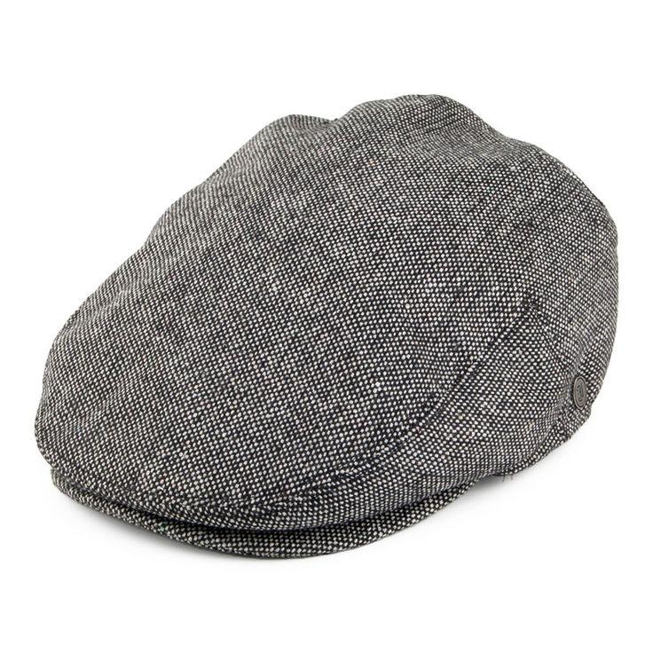 Jaxon & James Marl Tweed Flat Cap - Black from Village Hats.