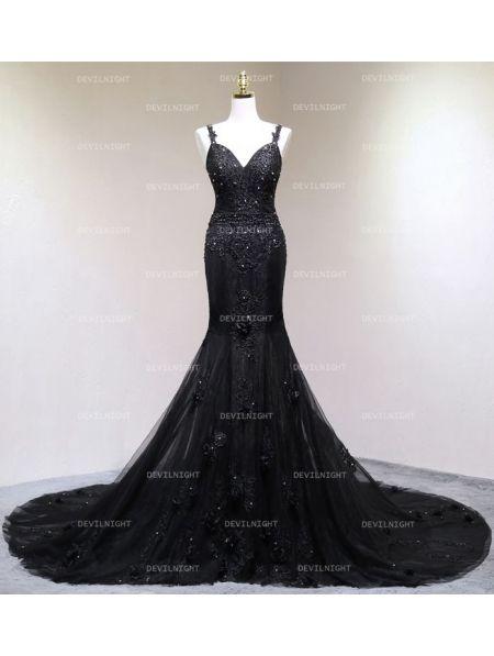 Black Gothic Beading Mermaid Gorgeous Wedding Dress - Devilnight.co.uk