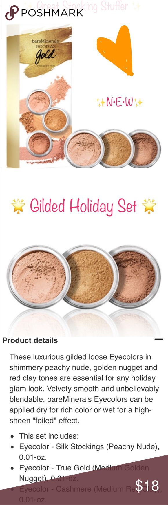 Bare Minerals 3-Item Good as Gold Eye Gift Set 🌟 This 3-shade set is perfect for a gilded, luminous holiday party ready look that will light up a room! N•E•W, Authentic, Untouched. 🌟 bareMinerals Makeup Eyeshadow