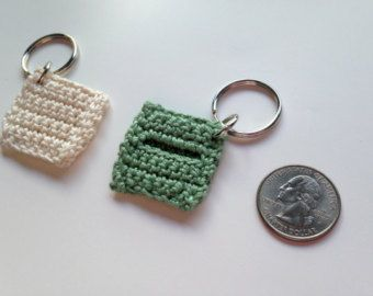 Quarter Holder Keychain - Key Fob, Stocking Stuffer, Hand Crocheted Items, Crochet Keychain, Quarter Holder, Quarter Key Fob, Small Gift