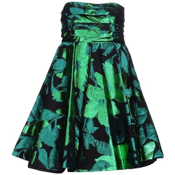 Io Couture Short Dress ($770) ❤ liked on Polyvore featuring dresses, green, short green dress, zipper dress, green sleeveless dress, metallic mini dress and green dress