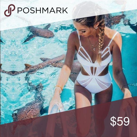 Cut out white bikini ⭐️ love it! ☀️ sexy design one piece strappy Cut Out Monokini 🥂✨ Swim Bikinis