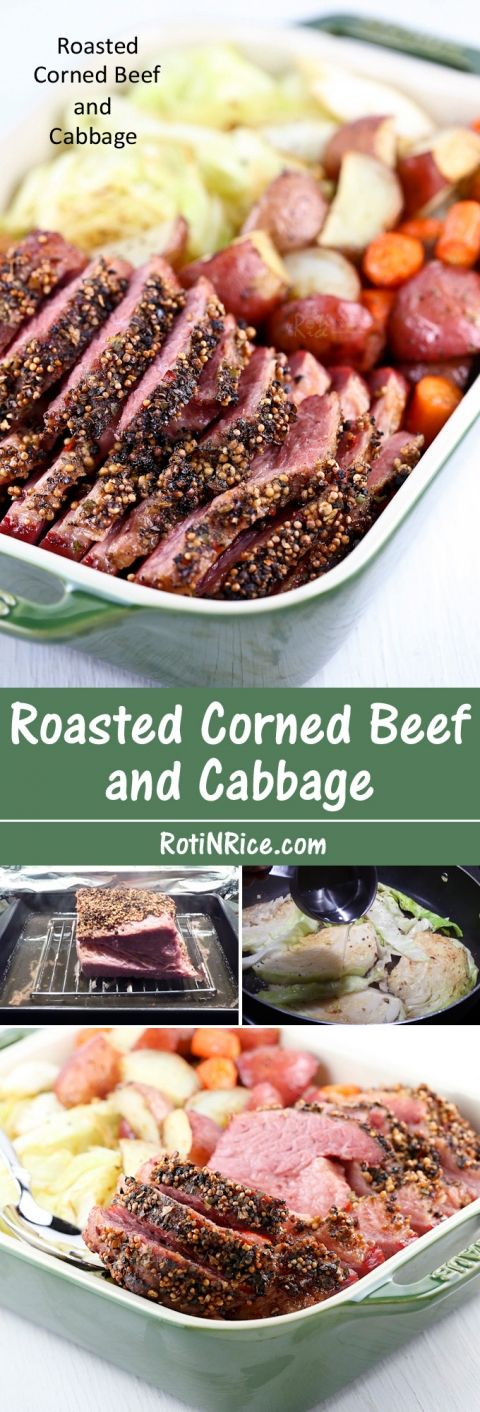 This slow Roasted Corned Beef and Cabbage is totally worth the time to prepare it. Delicious served with baked potatoes, carrots, and pan fried cabbage wedges. | Food to gladden the heart at RotiNRice.com