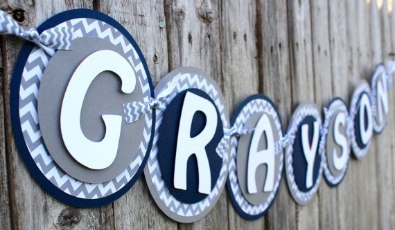 This beautiful navy and gray chevron banner is the perfect focal point for your baby shower or nursery to display your lil mans name. High