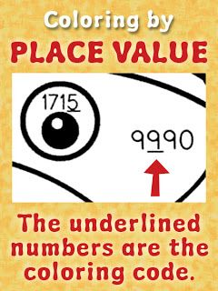 Color-by-Place Value Activities for Fall: students will find the underlined number, see if it's in the Ones, Tens, Hundreds, or Thousands place, then color the space according to the key. More info and photos of the owl, squirrel, and raccoon puzzles are in the blog post. $