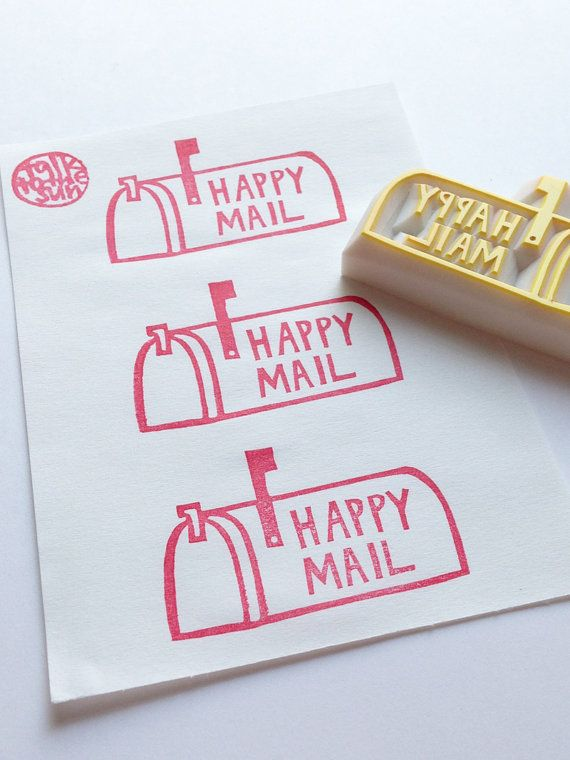 happy mail stamp. US mail box hand carved rubber by talktothesun