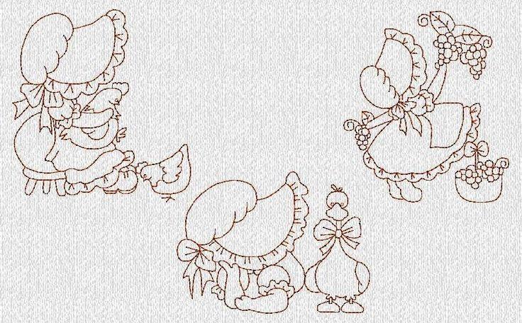 INSTANT DOWNLOAD Sunbonnet Sue Girls Set 3 by embroiderygirl