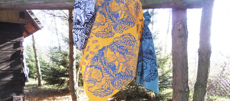 hand screen printed cotton FERNS by justyna medon www.justynamedon.com