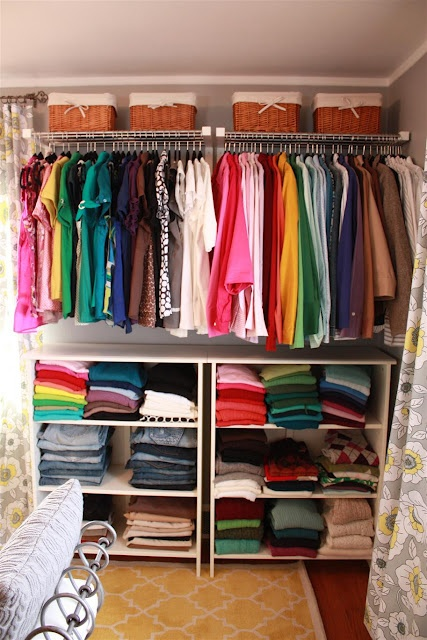 Hat racks and bookcases from Ikea make a great closet for a total of $250: Dressing Rooms, Bookshelves, Open Shelves, Russet Street, Bedrooms Closet, Dresses Rooms, Closet Rooms, Baskets Ideas, Hats Racks