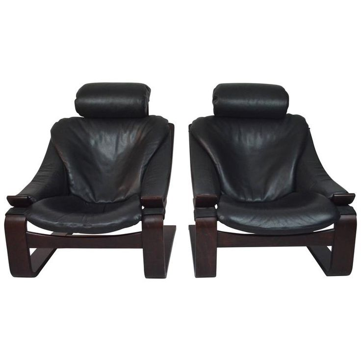 1970s Black Leather Armchairs