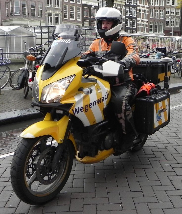 Technical assistance bike, used by the Dutch automobile association (ANWB) photographed in the centre of Amsterdam