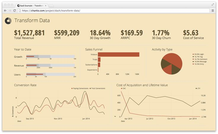 Business Intelligence data dashboard (Tufte Theme) by Chartio