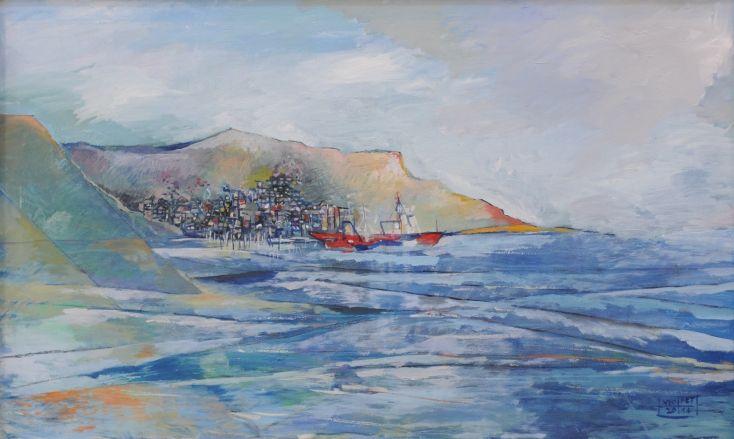 Vaporul roșu în port – Viorica Petrovici   EliteArtGallery - galerie de artă