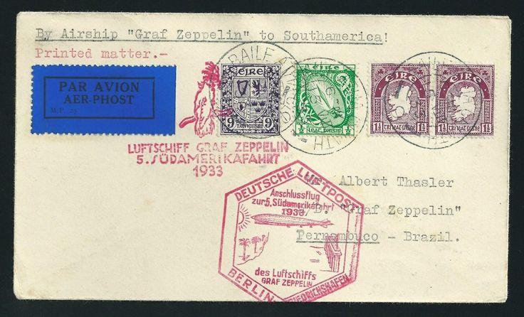 1933 5th #flight #Ireland to South #America, via Graf #Zeppelin (Flight #Cover) #irish #philately
