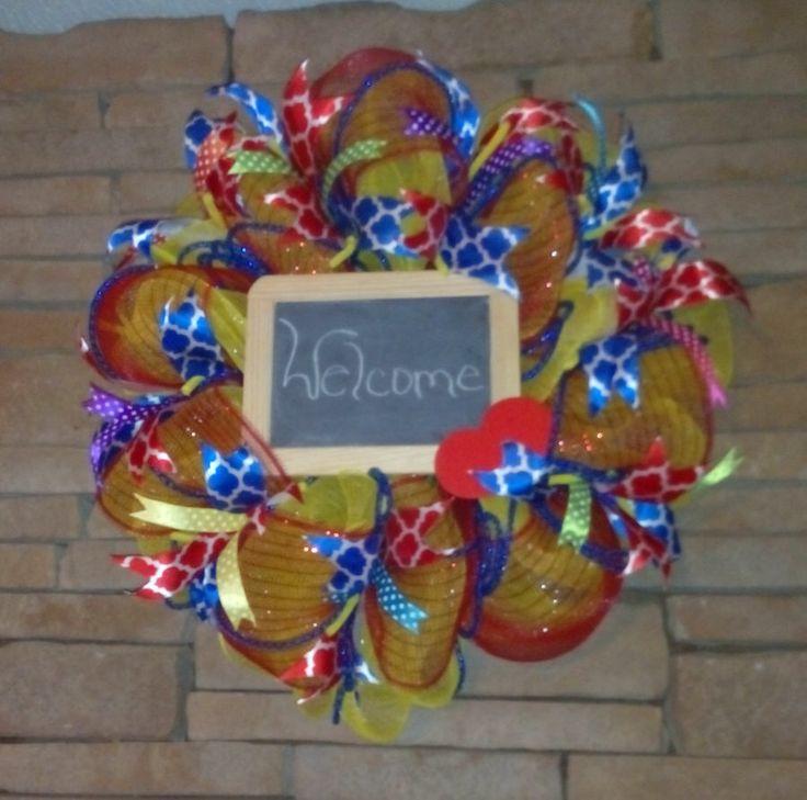 SALE-Classroom Wreath, Teacher Wreath, Back To School Wreath, Deco Mesh Teacher Wreath by HandmadeGiftsbyBlue on Etsy https://www.etsy.com/listing/246302309/sale-classroom-wreath-teacher-wreath