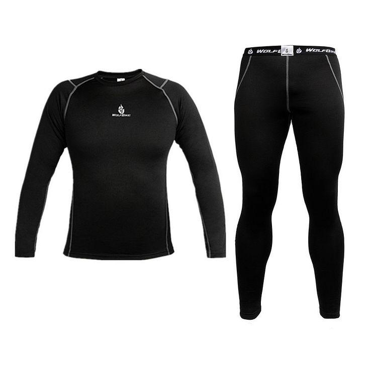 WOLFBIKE Mens Hoodie térmico Quick-seca Base Layer sob o desgaste Ciclismo bicicleta Jersey manga comprida calças apertadas roupas Desportos...