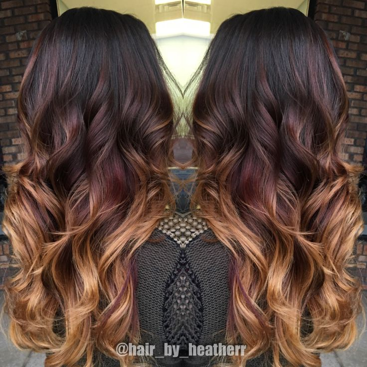 Dark Chocolate To Red To Copper Blonde Ends Beautiful Balayage Ombre Hair Pinterest