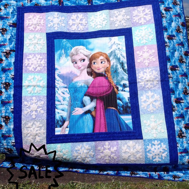 'Frozen' quilt for sale on www.pandaquilting.etsy.com for NZD800.00. Single bed size 100% cotton and wool batting.