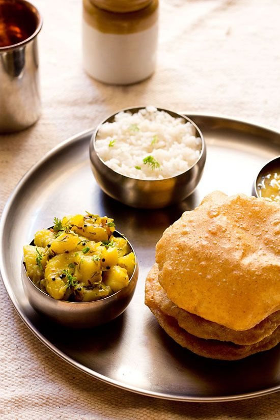 poori bhaji or batata bhaji a breakfast dish in north india which is made from puri and aloo bhaji